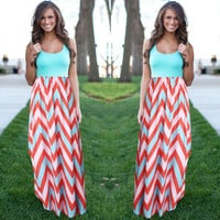 Women Summer Beach Sundress Striped Boho Maxi Long Dress Sleeveless