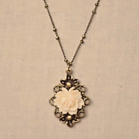 Handmade Vintage Style Pendant Necklace with Cream Ivory Resin Rose Flower Antiqued Gold Chain