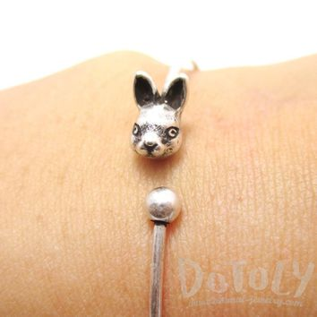 Simple Bunny Rabbit Charm Bangle Bracelet Cuff in Silver | Animal Jewelry