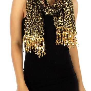 Viva La Voom Sequin Party Shawl Gold