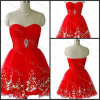Sweetheart red tulle with sequins crystal beads homecoming dress ,cocktail dress