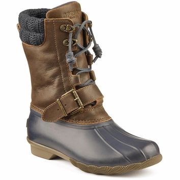 Women's Saltwater Misty Duck Boot in Navy/Brown by Sperry