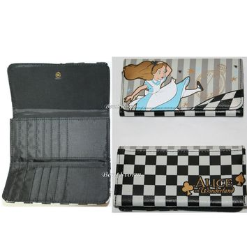 Licensed cool Disney Falling Alice in Wonderland Checkered Flap Wallet Hot Topic Exclusive NEW