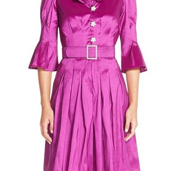 Women's Chetta B Ruffled Neck Taffeta Fit & Flare Dress,