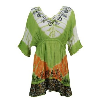 Mogul Womens Tie Dye Dress Floral Embroidered Green Rayon Beach Cover Up Dresses - Walmart.com