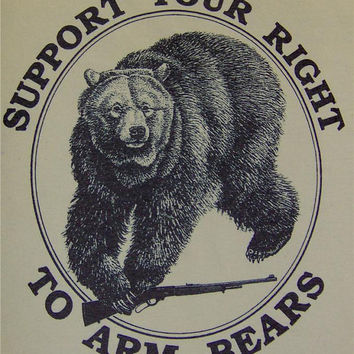 S- XL Right to Arm Bears Animal Rights American Indian T-Shirt
