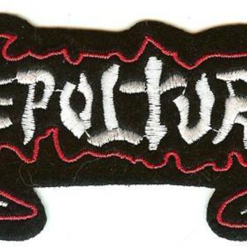 Sepultura Iron-On Patch White Letters Logo