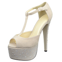 Womens Platform Sandals Rhinestone Studded Peep Toe High Heel Shoes Nude SZ