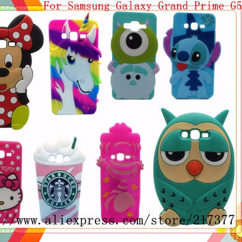 Phone Case For Samsung Galaxy Grand Prime G530 G530W 3D Cartoon Sulley Minnie Dog Owl KT unicorn Soft Silicone Back Cover