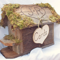Wedding Cards Box Birdhouse With Personalized Moss Roof  - A Hinged Top Opens To Hold Your Wedding Gift Cards Rustic, Country Wedding Decor