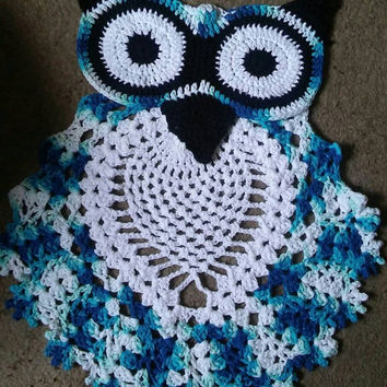 Owl Rug, Crochet Owl Rug, Blue Owl, Bathroom Rug, Bedroom Rug, Child's Room Rug, Owl Wall Hanging, Ready To Ship