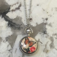 Butterfly Locket Watch, locket, watch necklace, butterfly necklace, FREE shipping to Canada