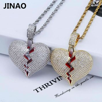 JINAO Solid Broken Heart Iced Out Pendant & Necklace Statement Gold Color Cubic Zircon Necklace Hip Hop Men's Jewelry Gifts