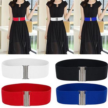 Hot Women Alloy Buckle Stretch Elastic Wide Waist Belt Strap Waistband Accessory