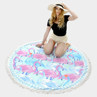 Round Flamingo Tassel Beach Blanket Towel