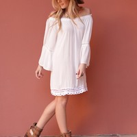 West Coast Wardrobe  Neverland Dreamer Bell Sleeve Dress in White