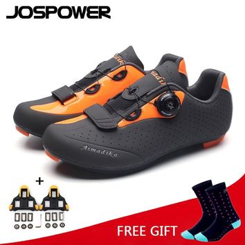 JOSPOWER MTB Road Cycling Shoes Wearable Breathable Bike Shoes Men PRO Racing Team Self-Locking Athletic Bicycle Shoes