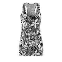 Black And White Polynesian Patterns Womens Cut  Sew Racerback Dress