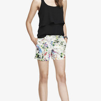4 1/2 INCH FLORAL PRINT STRETCH COTTON SHORTS from EXPRESS