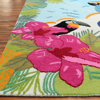 Spring Sparrow Kids 5 x8 Handmade Floral Persian Style Wool Area Rug