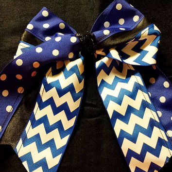 Cheer Bow, Softball Bow, Sports Bow -(Royal, Black and White) custom made and can be embroidered with initials or name.