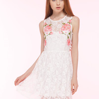 Pink Rose Detailed Lace Dress