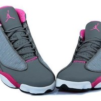Hot Air Jordans 13 GS Women Shoes Grey Pink White