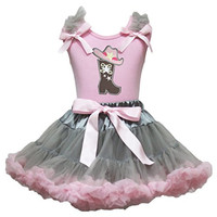 Cowgirl Dress Boot Hat Pink Shirt Grey Pink Skirt Girl Costume Outfit Set 1-8y (6-8 Years)