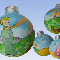 CUSTOM Hand Painted Christmas Ornaments, Christmas ball, Glass Christmas Ornament, New year Christmas Craft Gift, Little Prince Exupery SOLD
