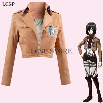 Cool Attack on Titan LCSP  Mikasa Ackerman Cosplay Costume Japanese Anime Uniform Suit Outfit Clothes AT_90_11