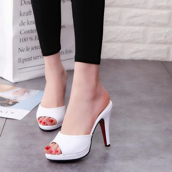 Summer PU Leather Sandals Women Simple Square Peep-toe Slides Thick Heel Summer Shoes For Woman 2193