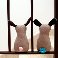 Soft rabbit in recycled felt beige and turquoise bunny