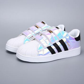 Adidas Original Superstar White Black Multi Velcro Toddler Kid Shoes - Best Deal Online