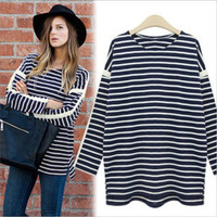 Fantastic Women Navy Blouse Plus Size O-neck Long Batwing Sleeve Leisure Loose Shirt For Autumn XL 2XL 3XL 4XL 5XL = 1958544452