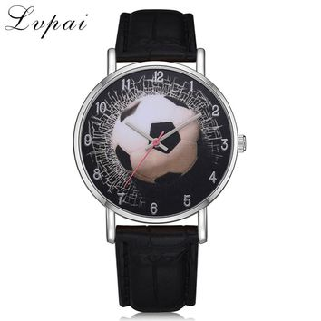 Lvpai Brand Leather Strap Sport Women Dress Watches Quartz Watch For Girls Boys Kid Watches Football Fashion Mens Wrist Watches