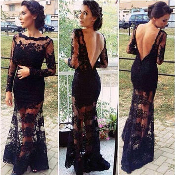 European Style Women Sexy Long Sleeve Backless Hollow Out Lace Dress Formal Evening Party Maxi Dress = 1932057604