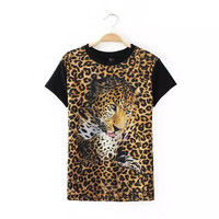 Women Leopard tiger head print shirt wild hot short sleeve camisas femininas Elegant casual summer tops DT339