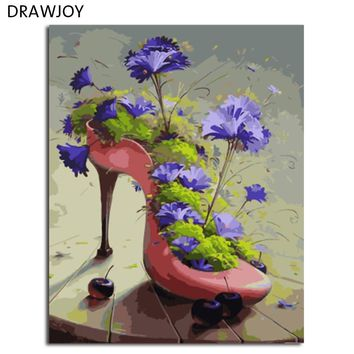 DRAWJOY Flower And High Heels Framed DIY Painting By Numbers On Canvas Painting And Calligraphy Wall Art For Home Decor