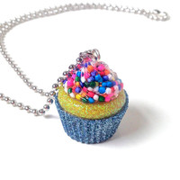 Cupcake necklace, cupcake pendant, blue cupcake charm, sprinkles jewelry, candy resin pendant, cupcake jewelry, food jewelry, bakers gift