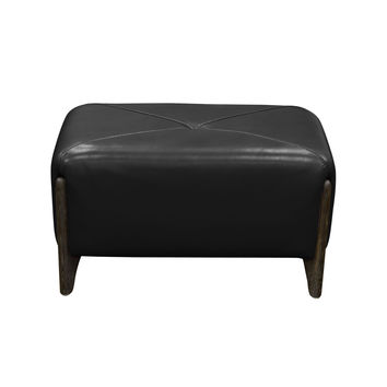 Monaco Rectangular Ottoman in Black Blended Leather with Ash Wood Trim & Leg by Diamond Sofa
