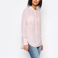 Whistles Tipped Detail Shirt in Pink