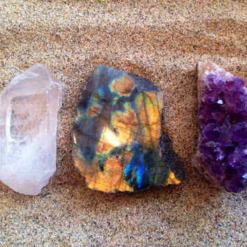 Amethyst Labradorite and Clear Quartz Crystal Set Crystal Healing Crystals and Stones Bohemian Decor Reiki and Chakra Crystals Raw Crystals