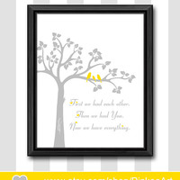 yellow and grey new baby decor baby nursery print baby room art nursery wall saying baby shower gift birds in a tree nursery christian art