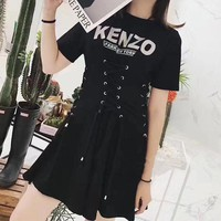 DCCKH3L KENZO' Fashion Personality Letter Print Crisscross Bandage Drawstring Short Sleeve T-shirt Mini Dress