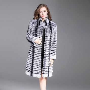 2017Real natural rex rabbit fur coat high quality 100% genuine rex rabbit fur chinchilla color winter jacket plus size 4XL