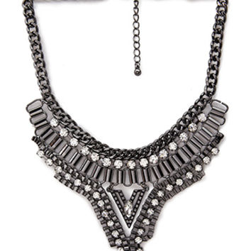 FOREVER 21 Bejeweled V-Shaped Bib Necklace Gunmetal/Clear One