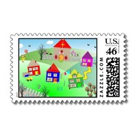 Cute Kids Little Village Picture Stamps from Zazzle.com
