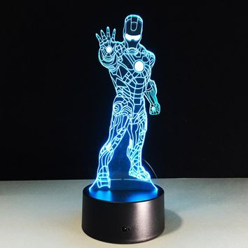 Ironman 3D USB LED Night Light 7colors Illusion Lamp Touch Button Remote Control Kid/children living/bedroom table/desk lighting