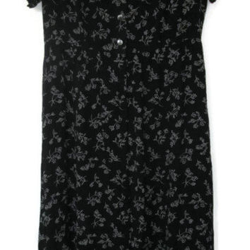 eddie bauer dress maxi black floral size 10 10p petite large