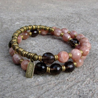 Joy and positivity, genuine faceted sunstone and smokey quartz 27 bead wrap mala bracelet™